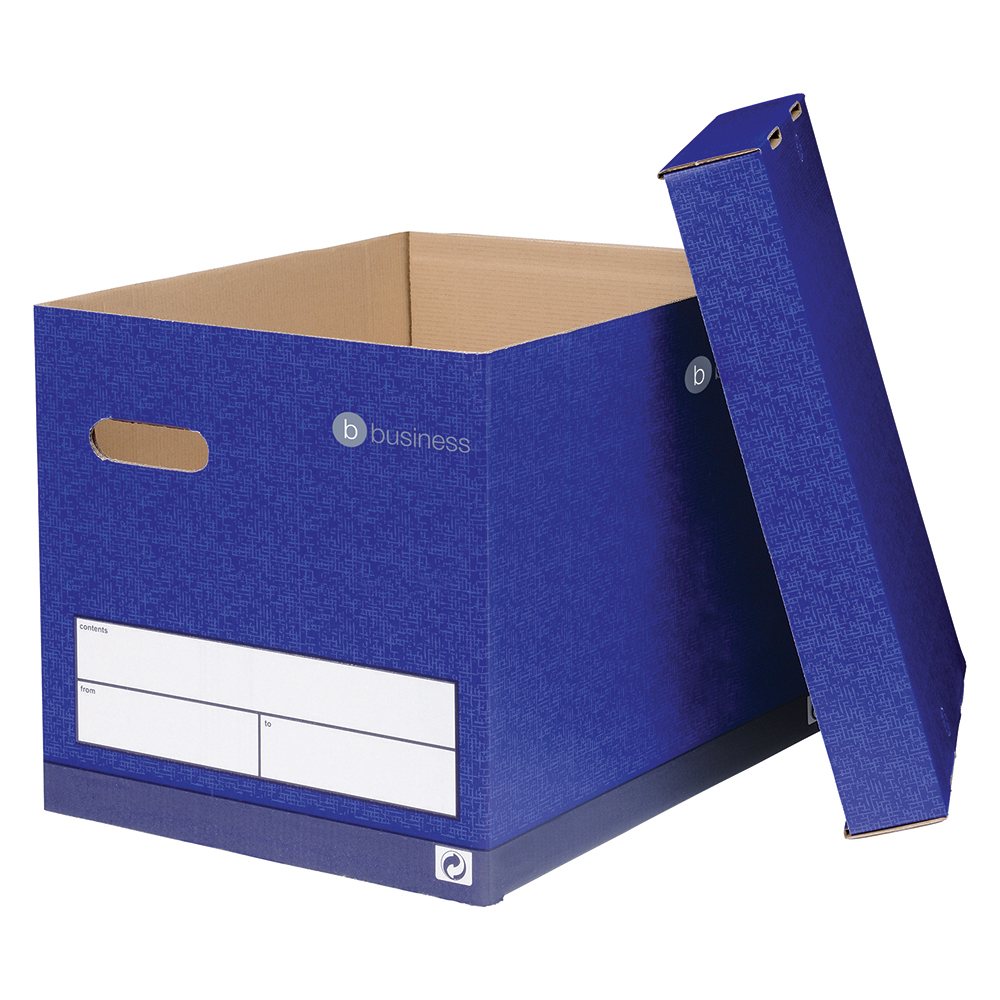 Business Premium Superstrong Archive Storage Boxes Foolscap Blue (Pack of 10)