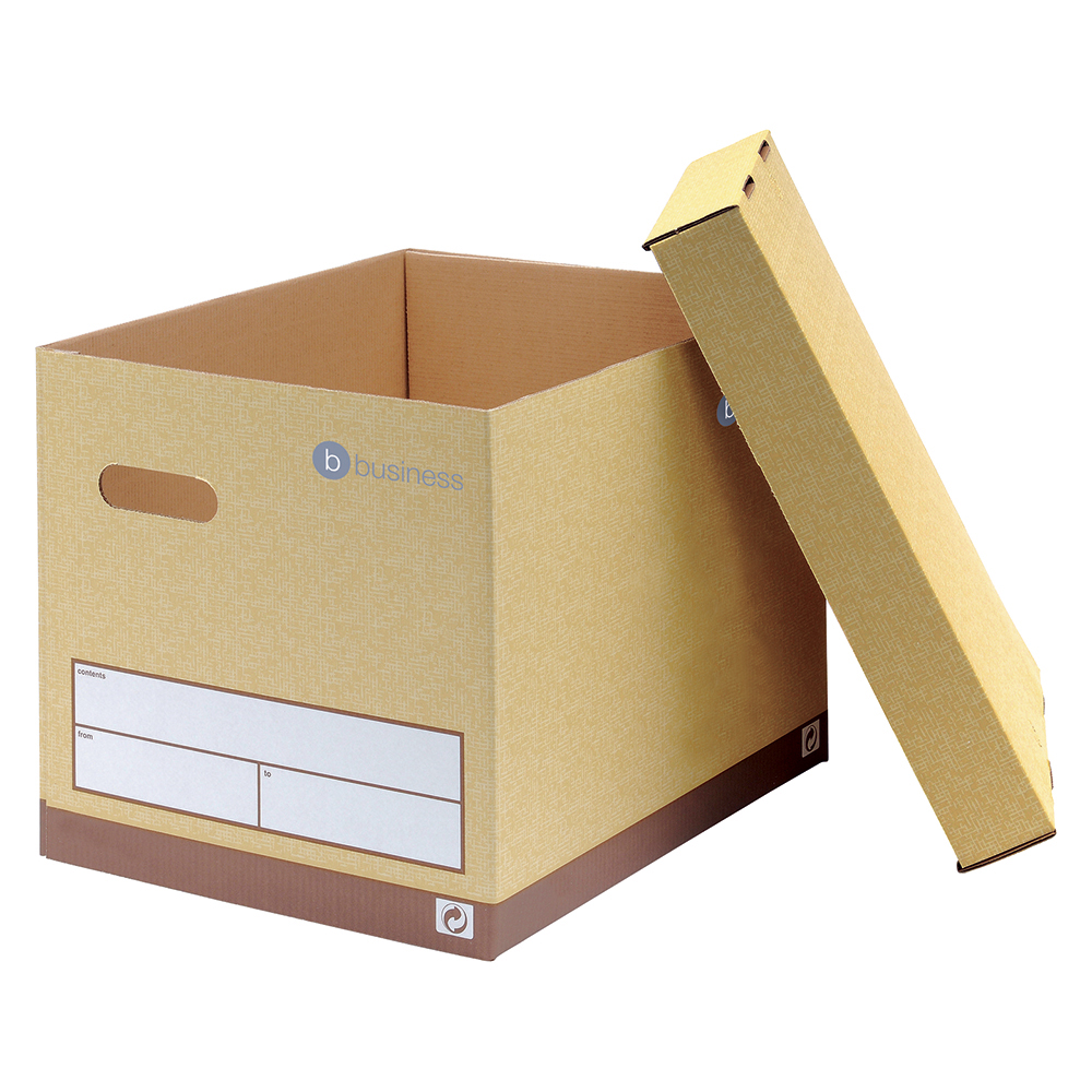 Business Premium Superstrong Archive Storage Boxes Foolscap Sand (Pack of 10)