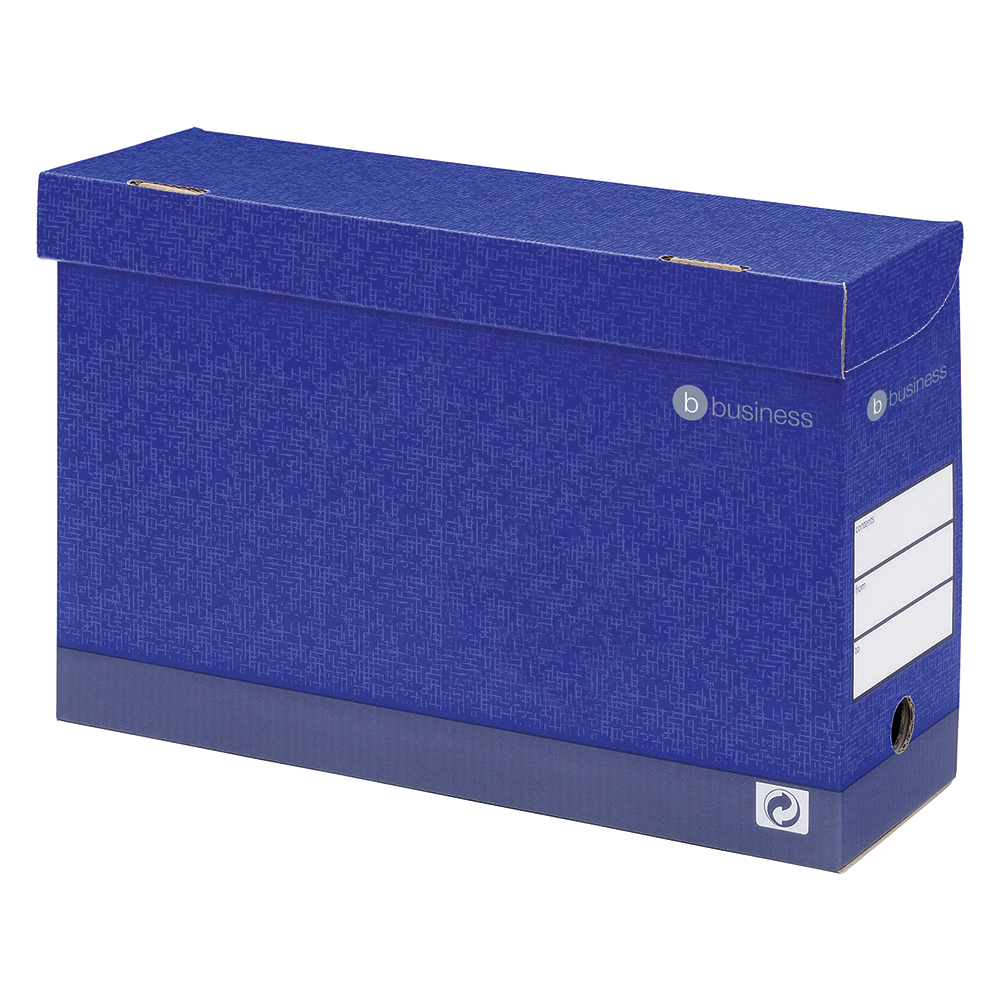 Business Premium Extra Strong Transfer Cases with Hinged Lid Foolscap Blue (Pack of 10)