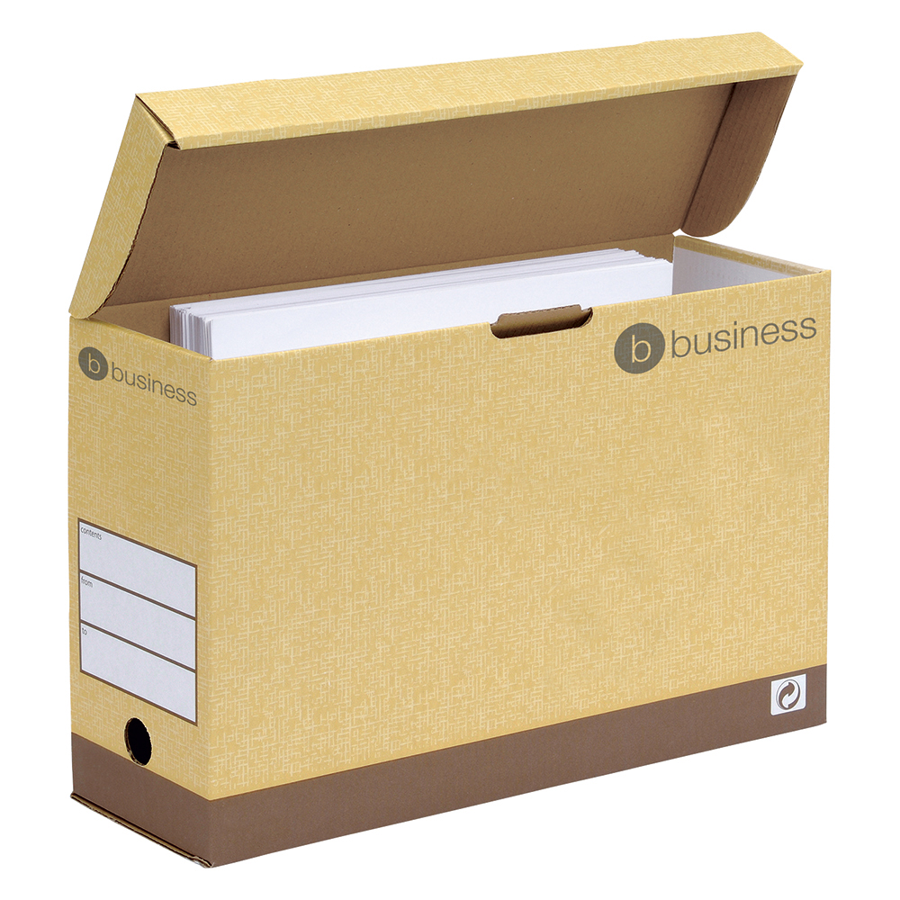 Business Premium Extra Strong Transfer Cases with Hinged Lid Foolscap Sand (Pack of 10)