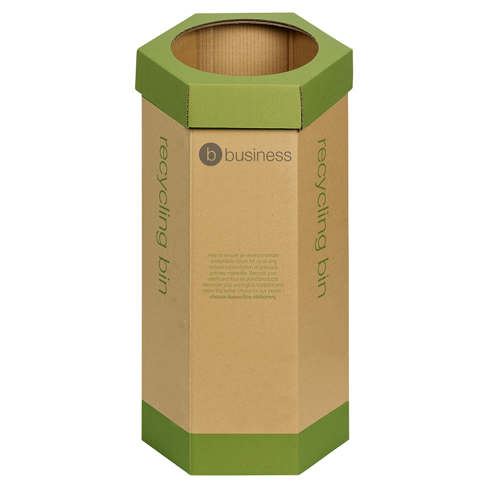 Business Eco Recycling Bin for Paper 120 Litres Base of 355mm Height of 679mm Green/Brown Pack 3