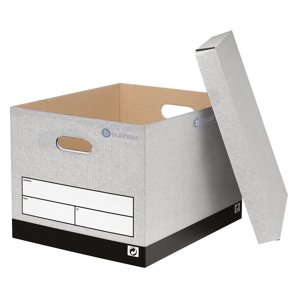 Business Storage Boxes Grey (Pack of 10)