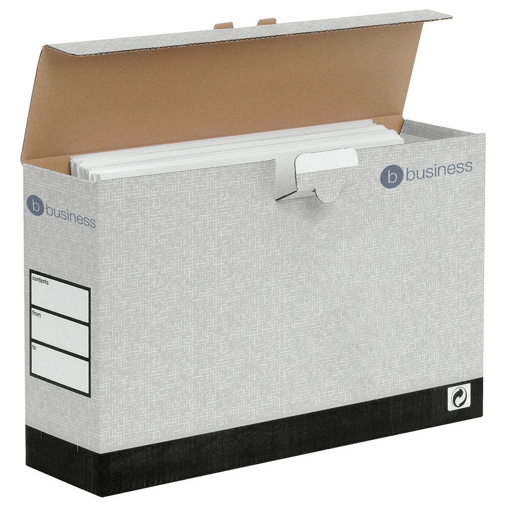 Business Transfer Cases with Hinged Lids Foolscap Grey (Pack of 10)
