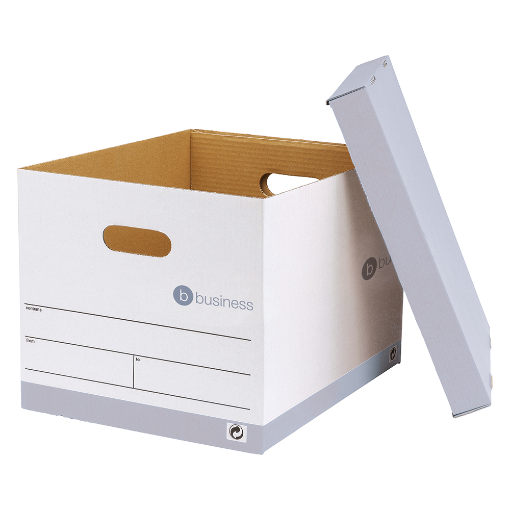 business Office Storage Box Red & White FSC Pack 10