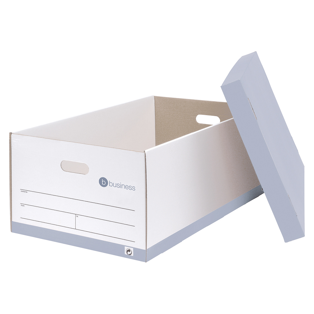 business Office Jumbo Storage Box Red & White FSC Pack 5