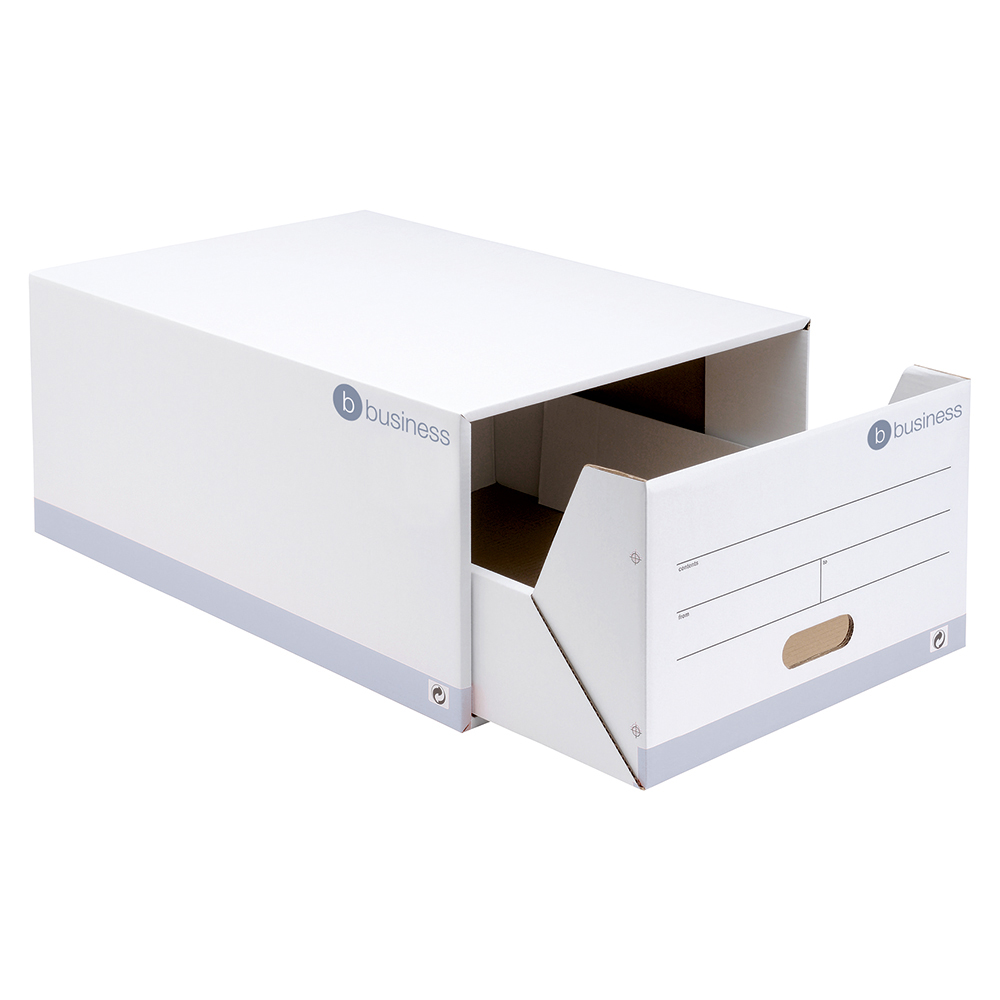 business Office Archive Storage Drawer Red and White FSC Pack 5