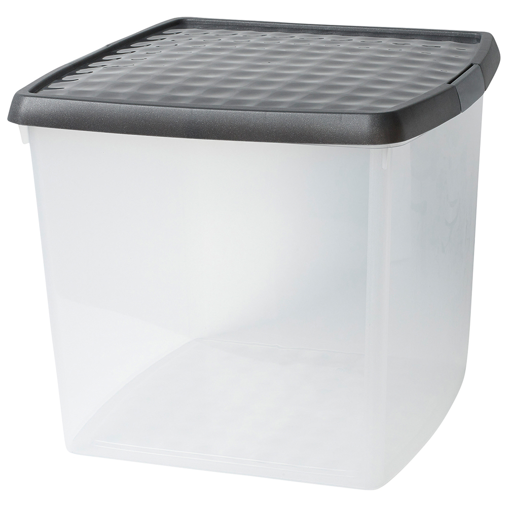 Business Premium Storage Clip Box with Lid 37 Litre Clear (Pack of 1)