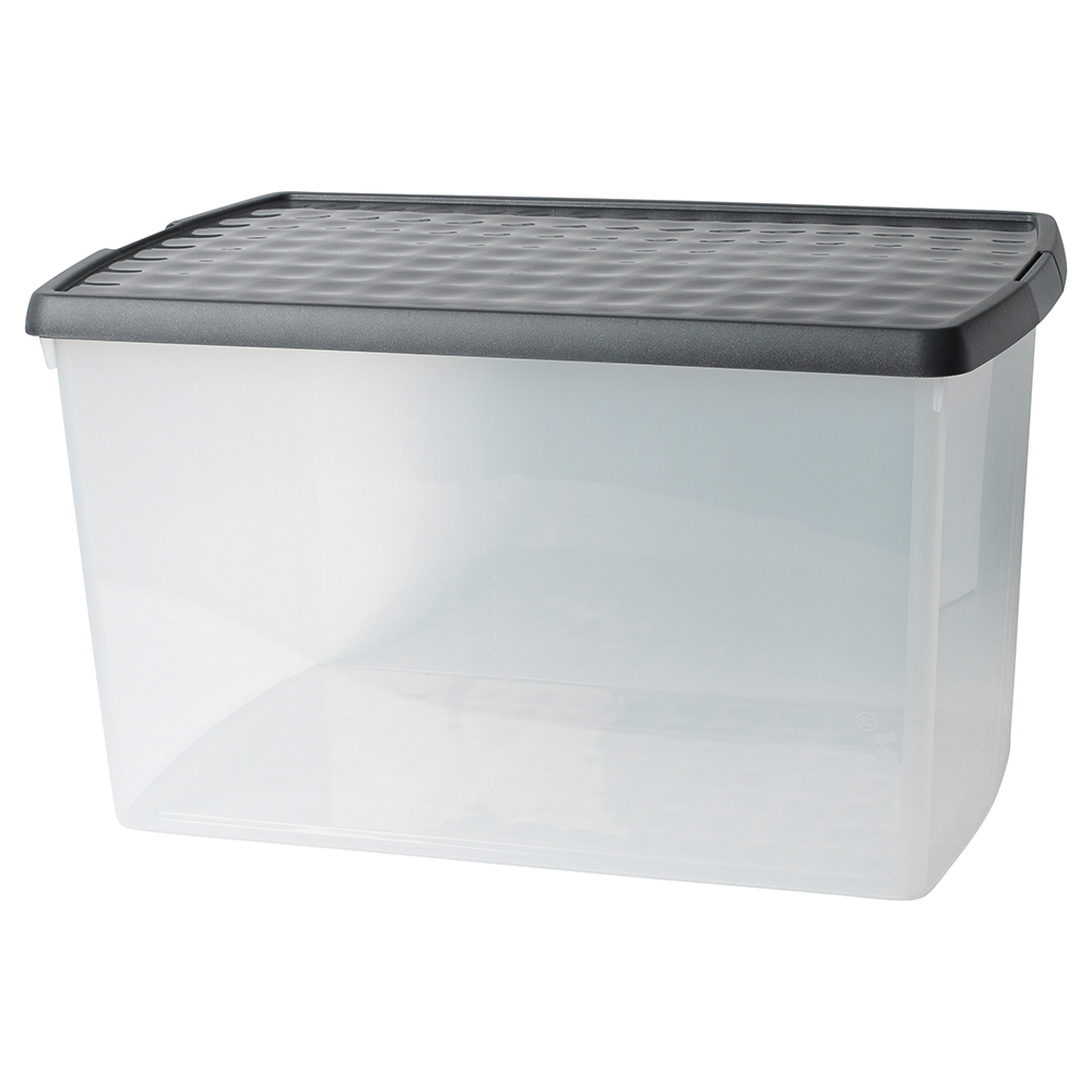 Business Premium Storage Clip Box with Lid 62 Litre Clear (Pack of 1)