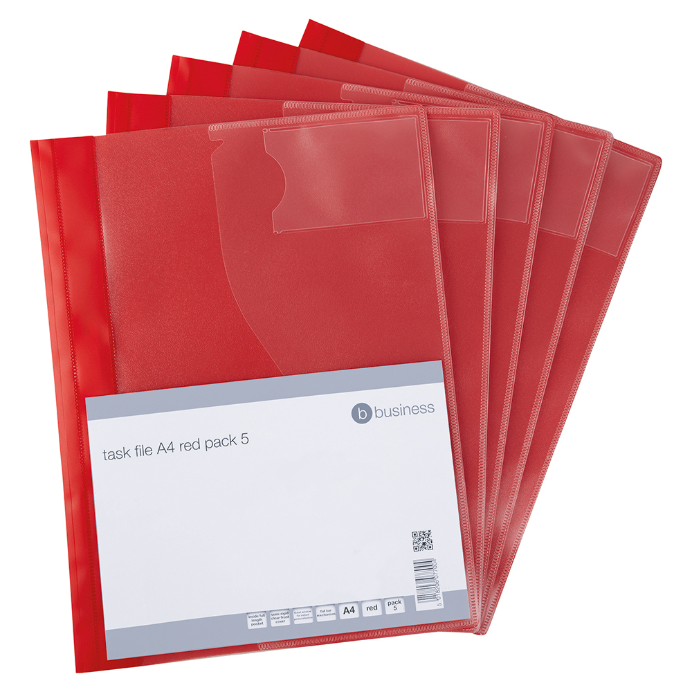 Business Document Task File with Clear Front Pocket A4 Red (Pack of 5)