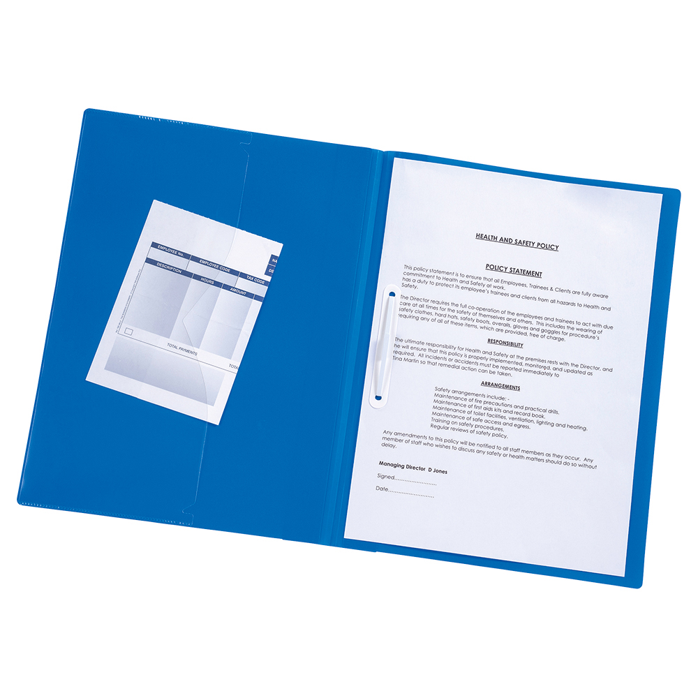 Business Executive File Flat Bar Semi Rigid Opaque Cover A4 Blue (Pack of 5)