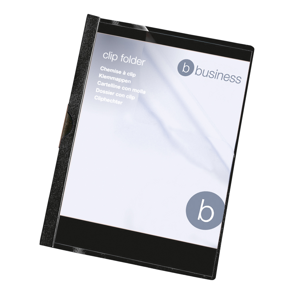Business Clip Folder 6mm Capacity 60 Sheets A4 Black (Pack of 25)