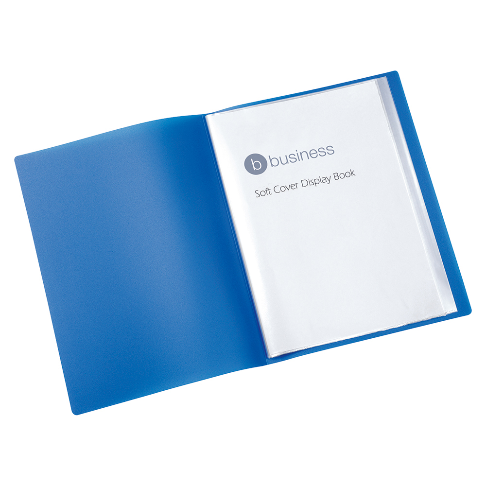 Business Blue 20 Pocket Soft Cover Display Book