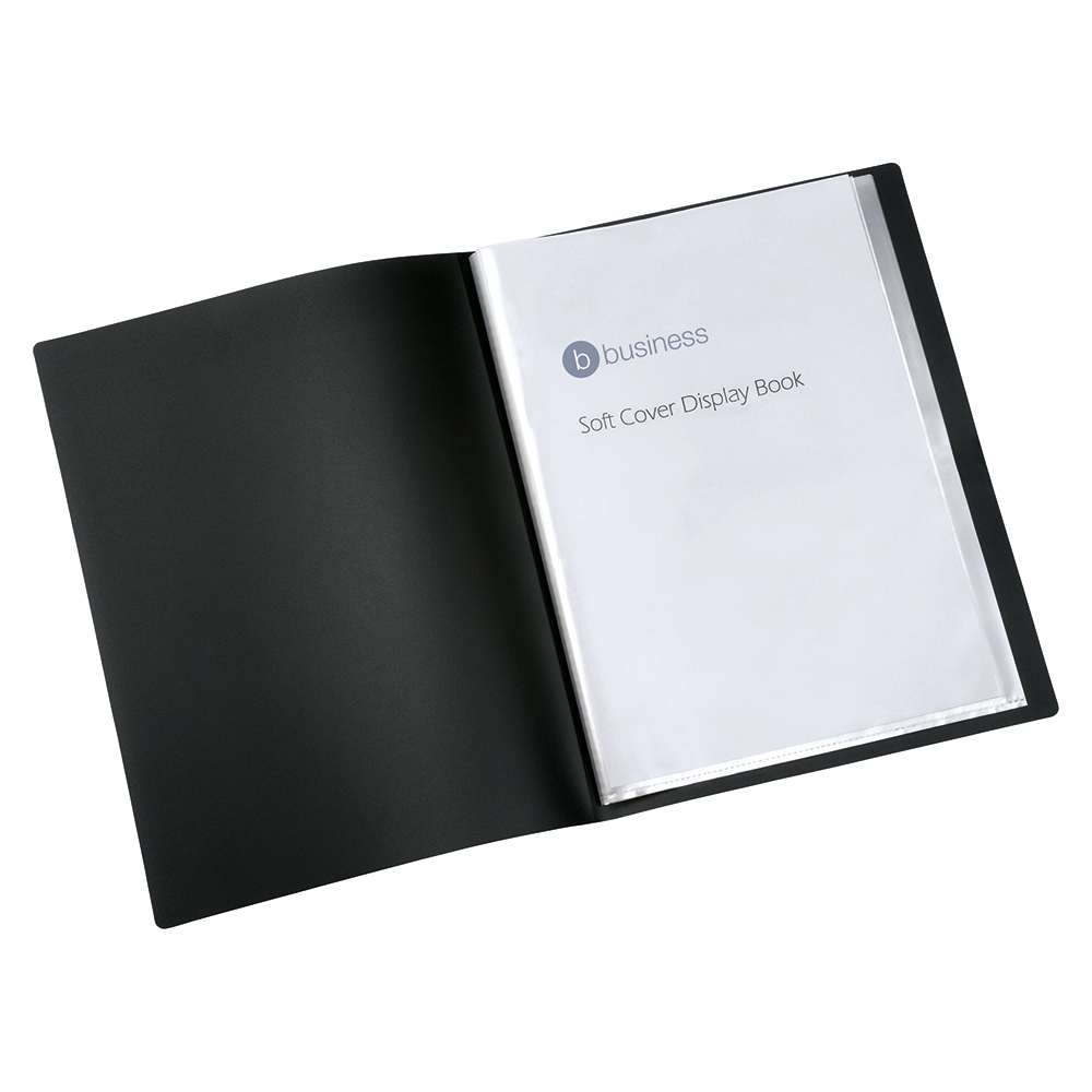 Business Display Book with Soft Cover 10 Pockets A4 Black (Pack of 1)