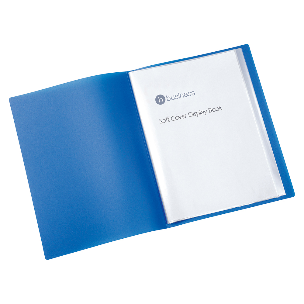 Business Display Book with Soft Cover 10 Pockets A4 Blue (Pack of 1)