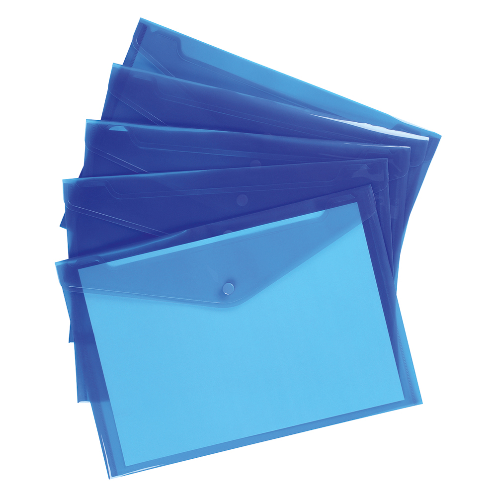 Business Envelope Stud Document Wallet Polypropylene A4 Translucent Blue (Pack of 5)