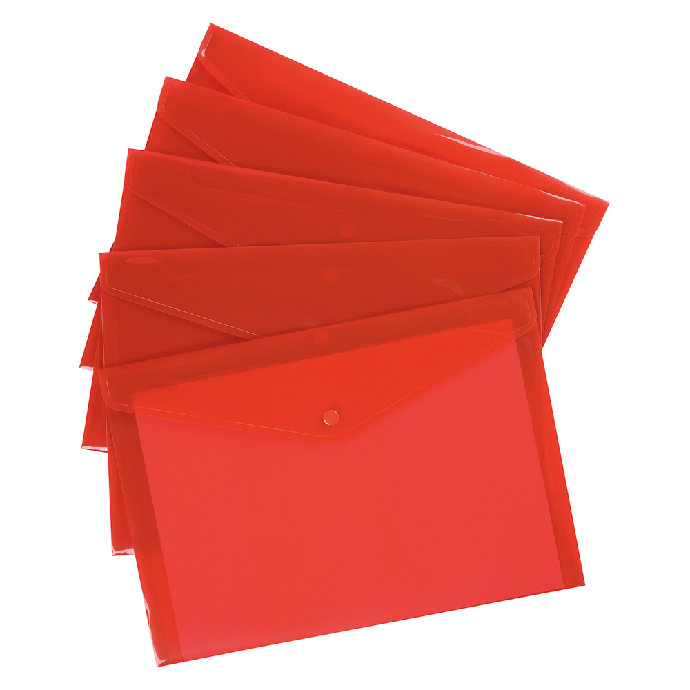 Business Envelope Stud Document Wallet Polypropylene A4 Translucent Red (Pack of 5)