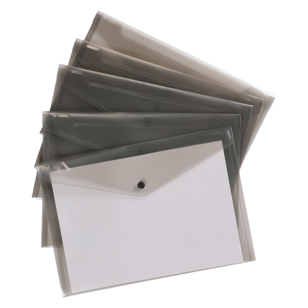 Business Envelope Stud Document Wallet Polypropylene A4 Translucent Smoke (Pack of 5)