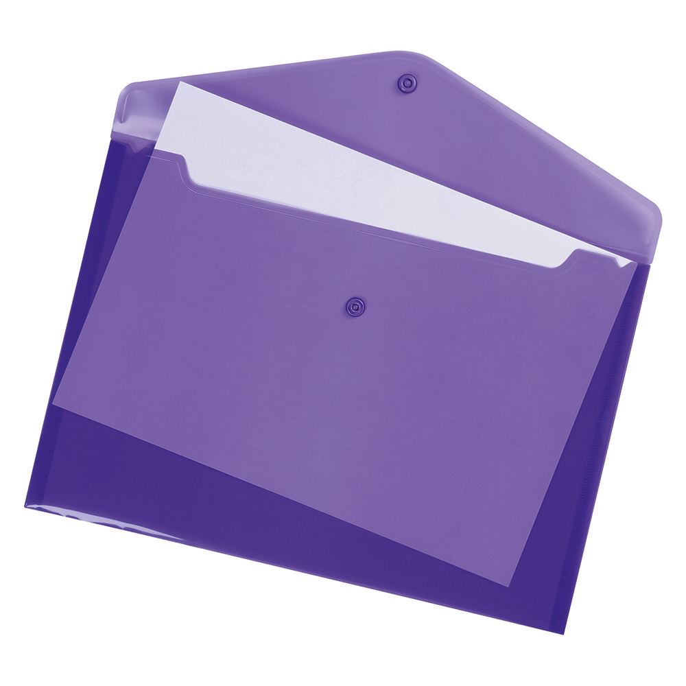 Business Envelope Stud Document Wallet Polypropylene A4 Translucent Purple (Pack of 5)