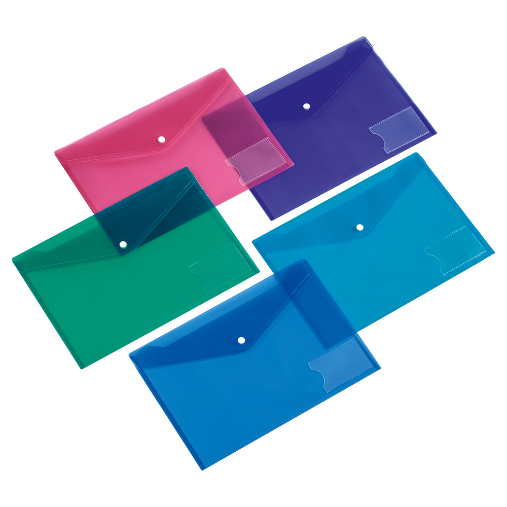 Business Envelope Stud Document Wallet With Card Holder Polypropylene A5 Assorted (Pack of 5)