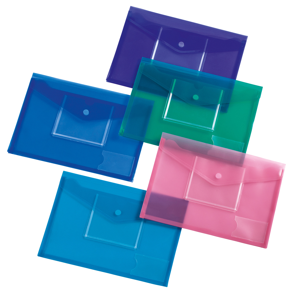 Business Assorted Colour A4 Stud Envelope Wallets with Disc Pocket Pack of 5
