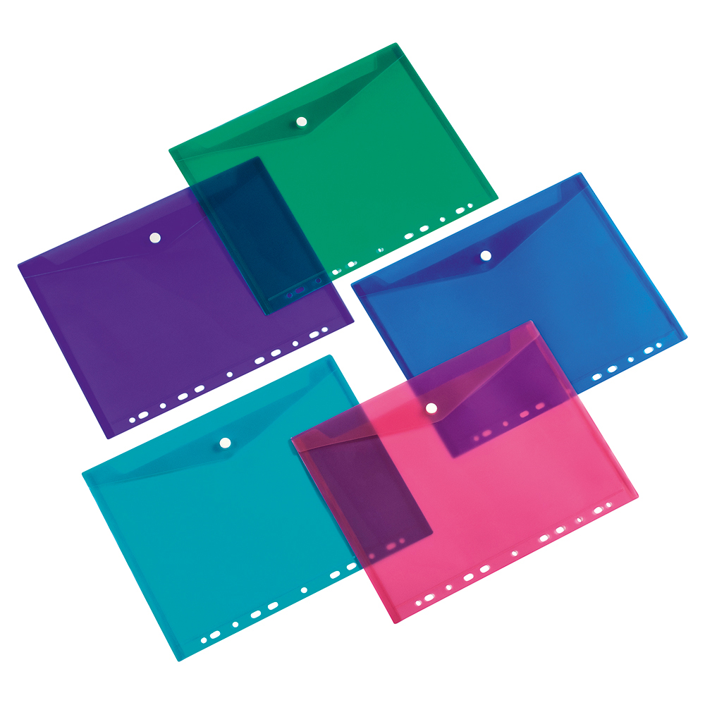 Business Punched Envelope Filing Pockets Polypropylene A4 Assorted (Pack of 5)