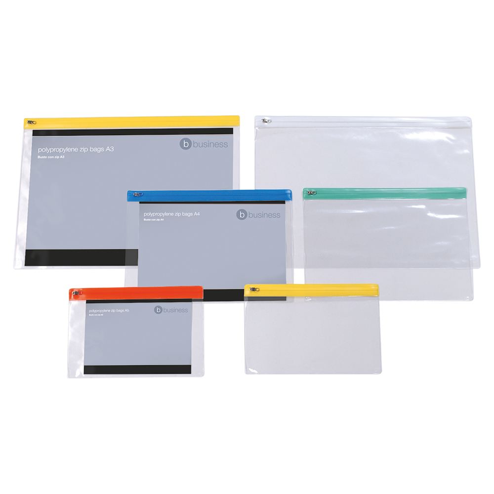 Business Zip Filing Bags Clear PVC With Coloured Seals A4 Assorted (Pack of 30)