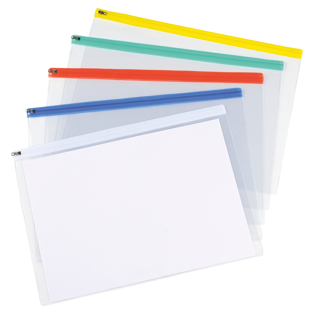 Business Zip Filing Bags Clear PVC With Coloured Seals A3 Assorted (Pack of 5)
