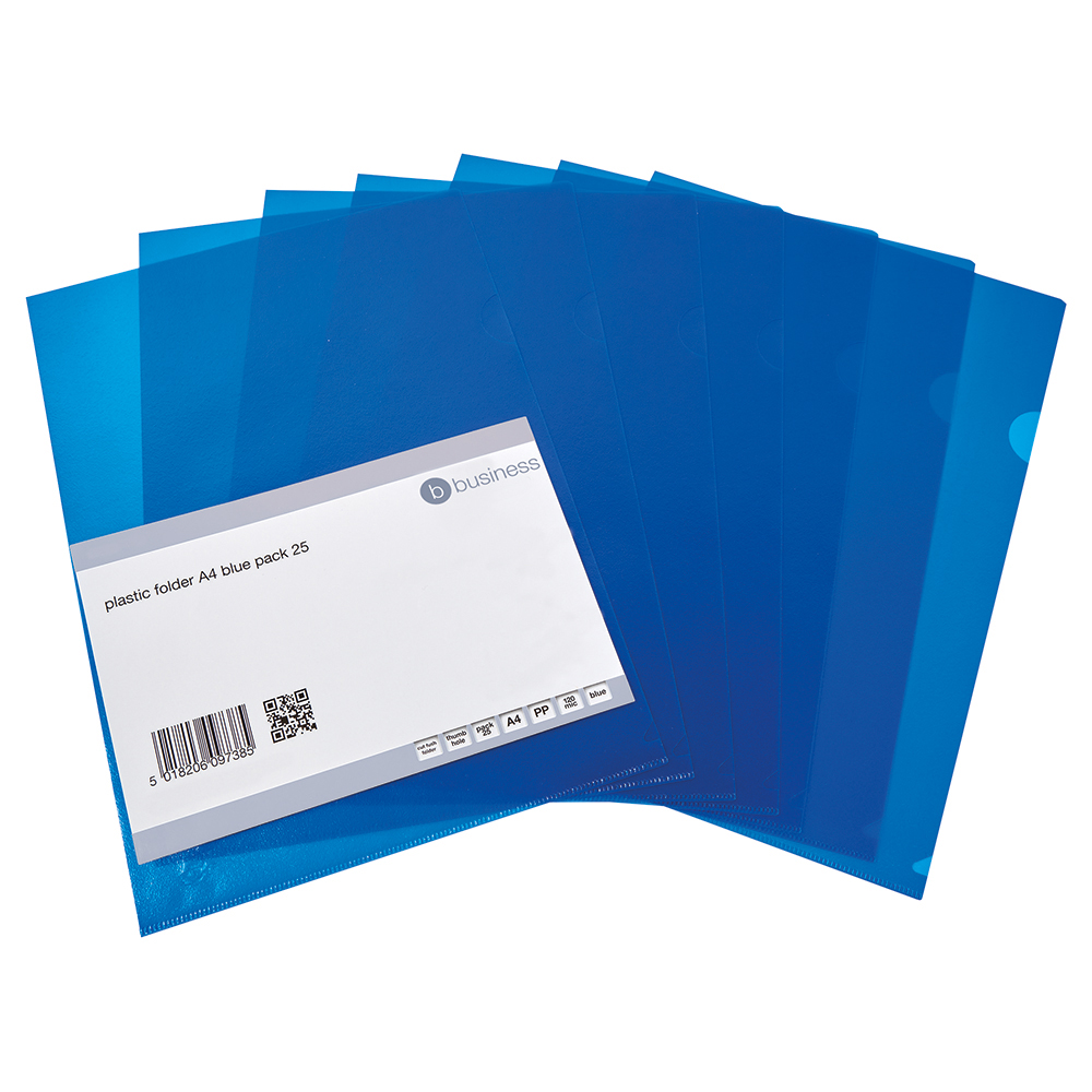 Business Cut Flush Folder Copy-Safe Polypropylene 120 micron A4 Translucent Blue (Pack of 25)