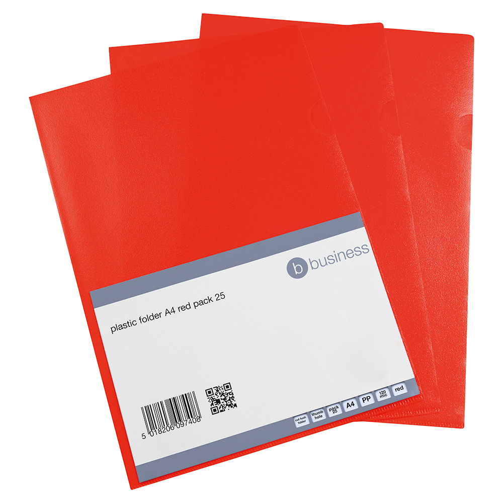 Business Cut Flush Folder Copy-Safe Polypropylene 120 micron A4 Translucent Red (Pack of 25)