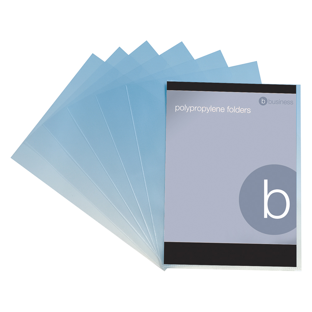 Business Office Folder Cut Flush Embossed Polypropylene Copy-safe 120 Micron A4 Clear Pack 100