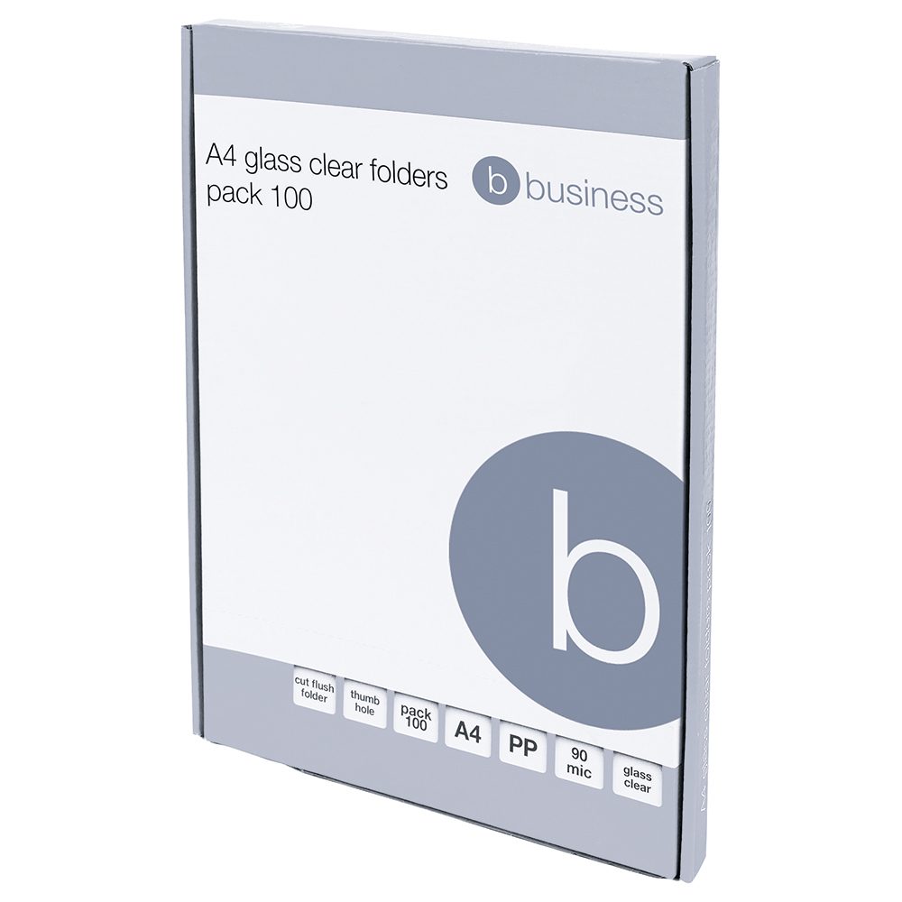 Business Office Folder Cut Flush Polypropylene Top and Side Opening 90 Micron A4 Glass Clear Pack 100