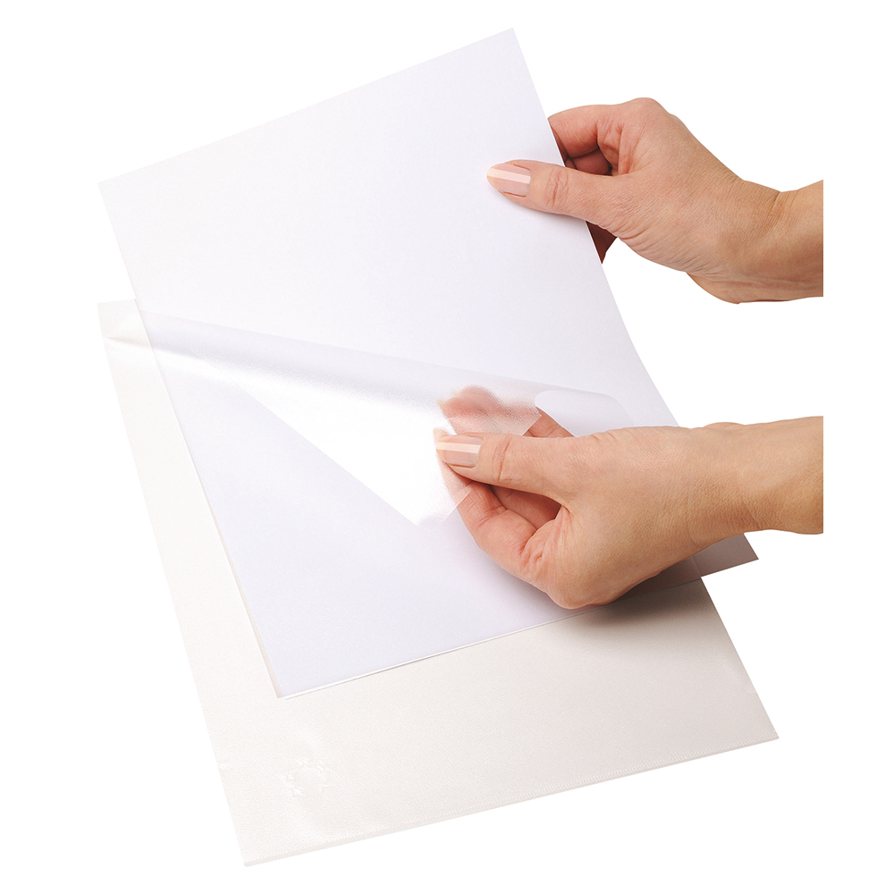 Business Office Folder Embossed Cut Flush Polypropylene with Thumb Hole 90 Micron A4 Clear Pack 100