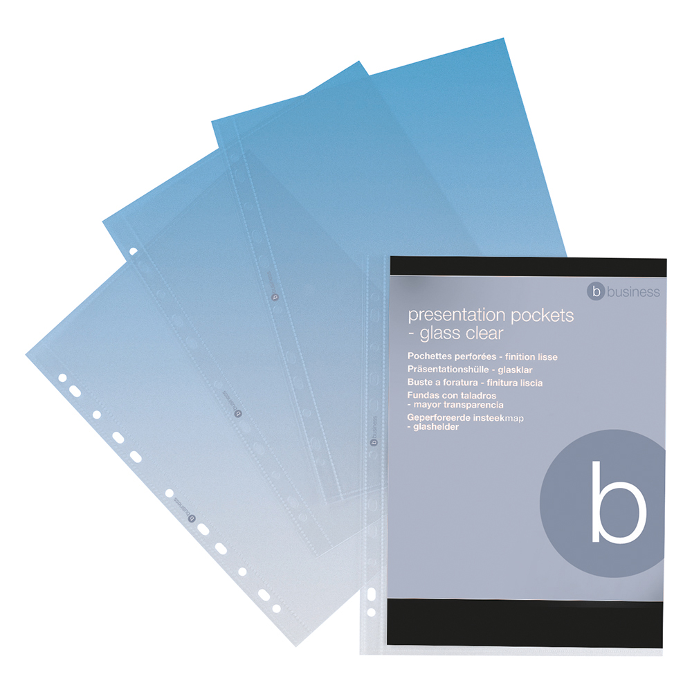 Business Premium Presentation Punched Pockets Top Opening Polypropylene 100 micron A4 Clear (Pack of 10)