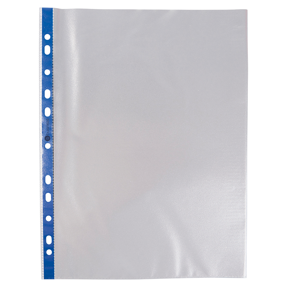 Business Punched Pockets Blue Side Strip Top Opening Polypropylene 80 micron A4 Clear (Pack of 100)