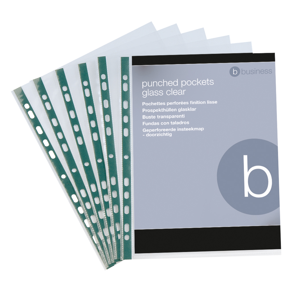 Business Punched Pockets Green Side Strip Top Opening Polypropylene 50 micron A4 Clear (Pack of 100)