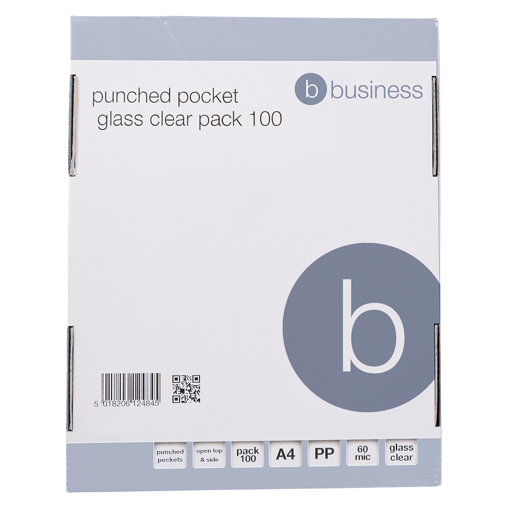 Business Clear Top/Side Opening Punched Pockets Pack of 100