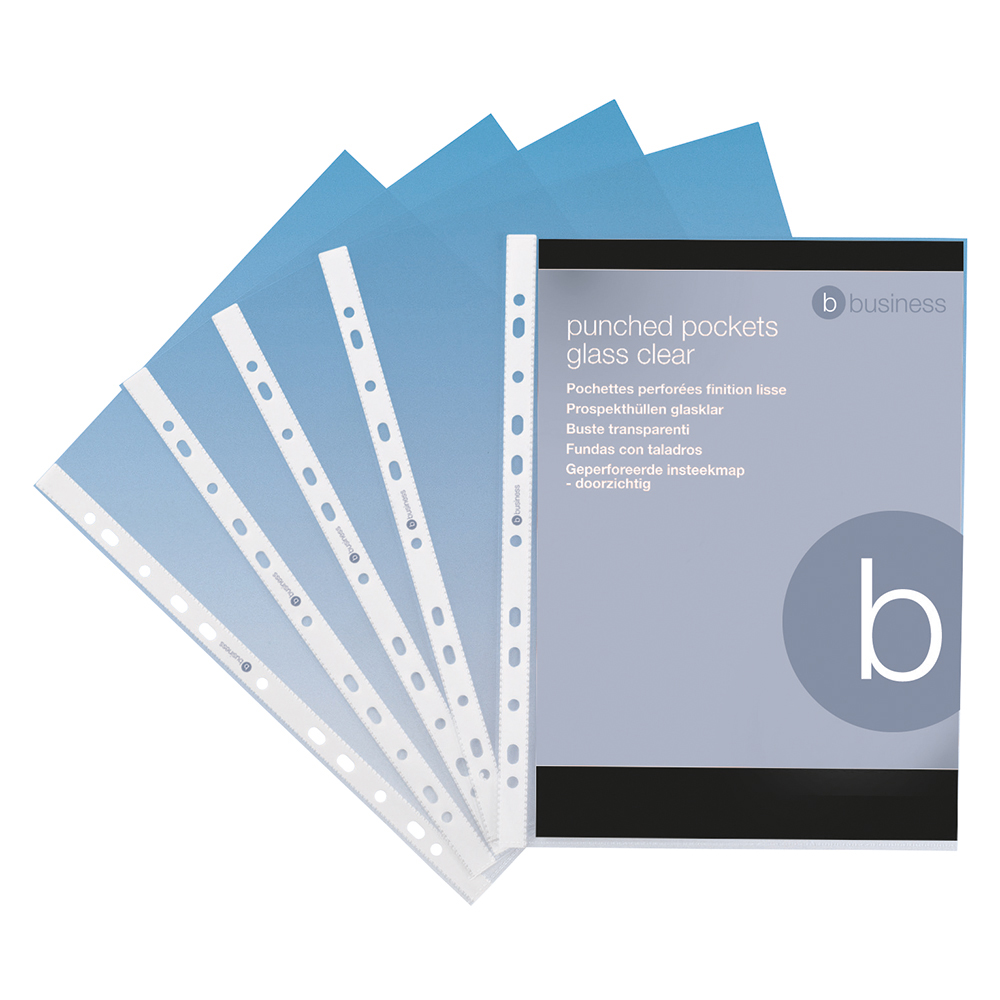 Business Punched Pockets Top Opening Polypropylene 70 micron A4 Clear (Pack of 100)