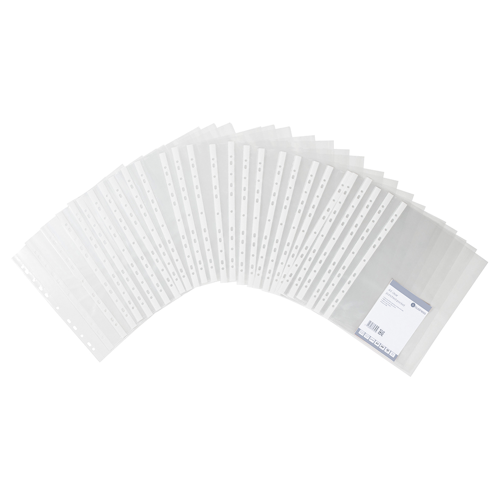 Business Punched Pockets Top and Side Opening Polypropylene 40 micron A4 Clear (Pack of 100)