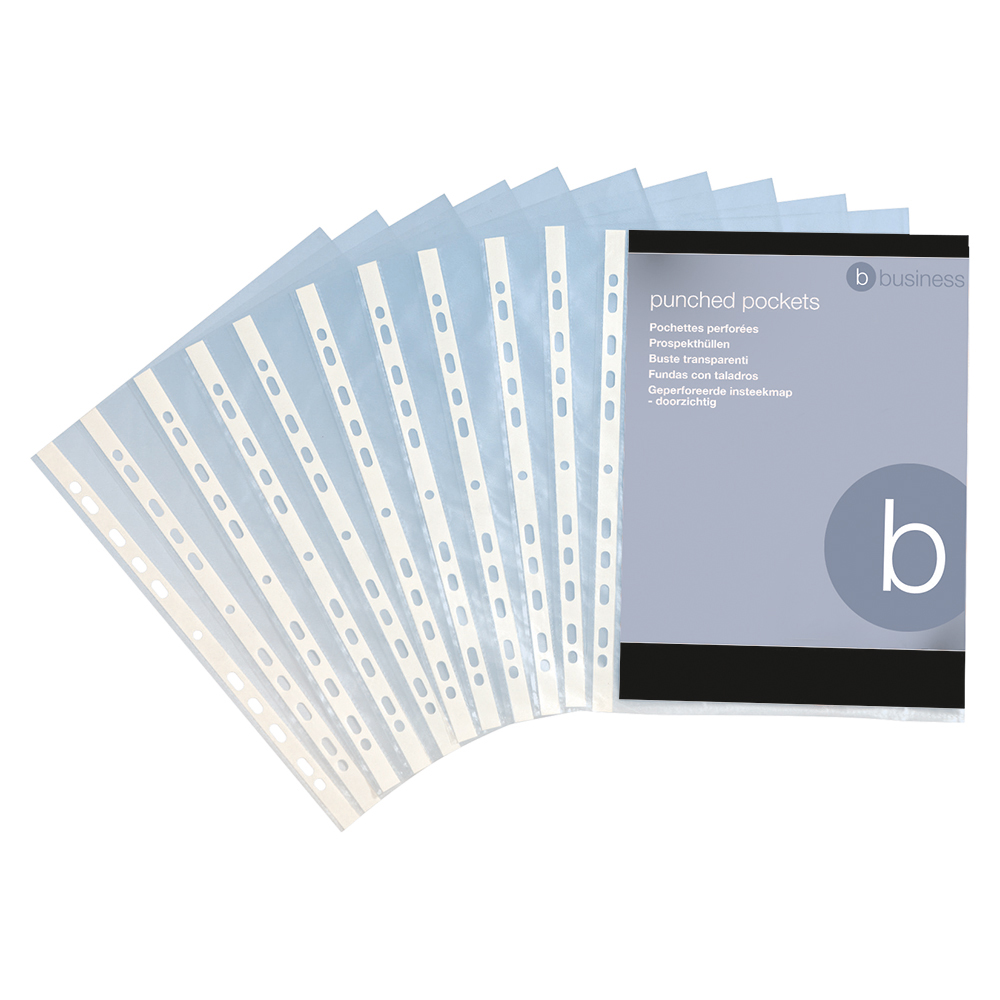 Business Punched Pockets Top Opening Polypropylene 40 micron A4 Clear (Pack of 100)