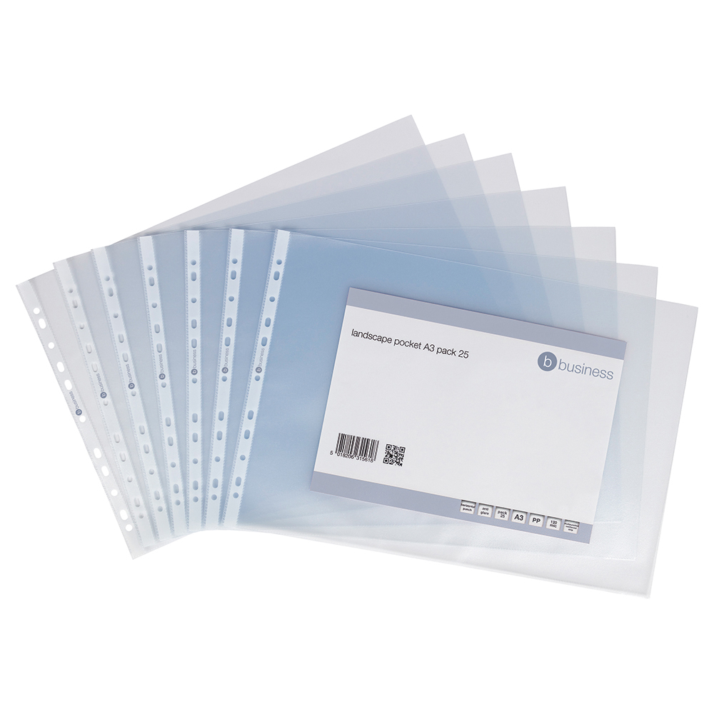 Business Punched Pockets Top Opening Landscape Polypropylene 120 micron A3 Clear (Pack of 25)