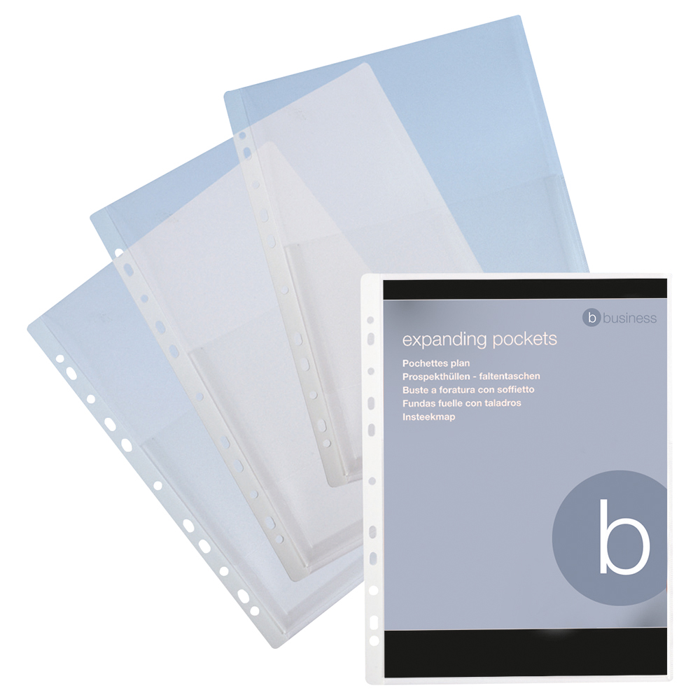Business Elite Clear Top Opening Expanding Punched Pockets Pack of 10