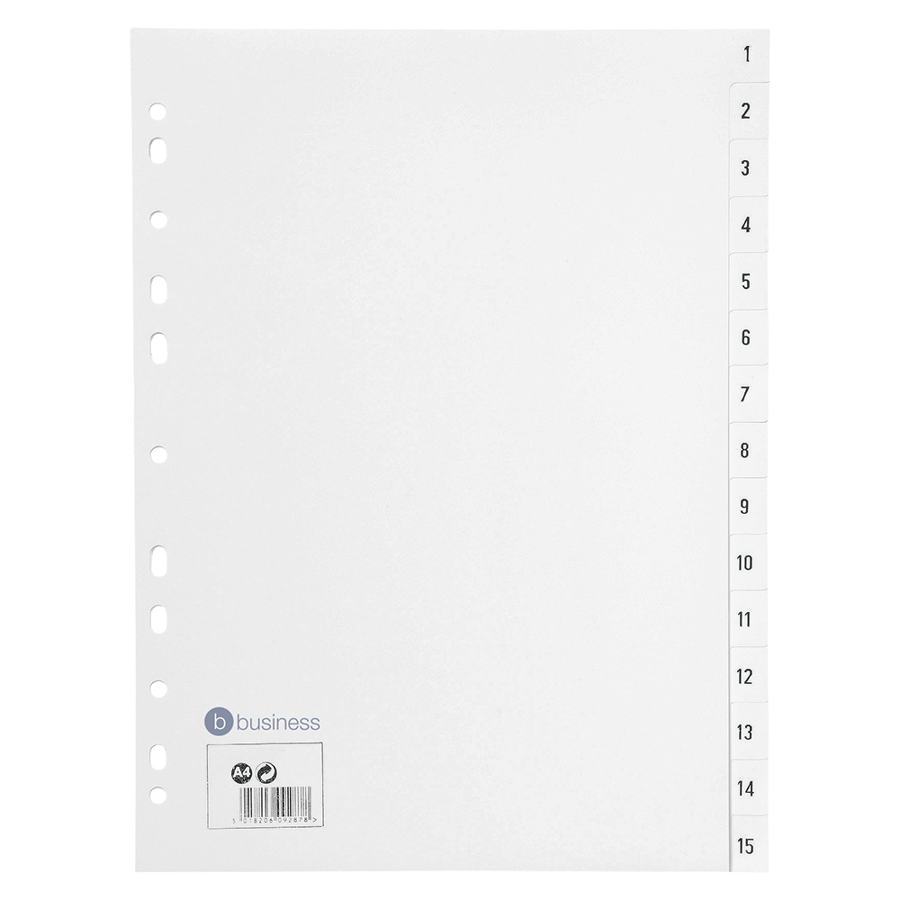 Business White 1-15 A4 File Dividers