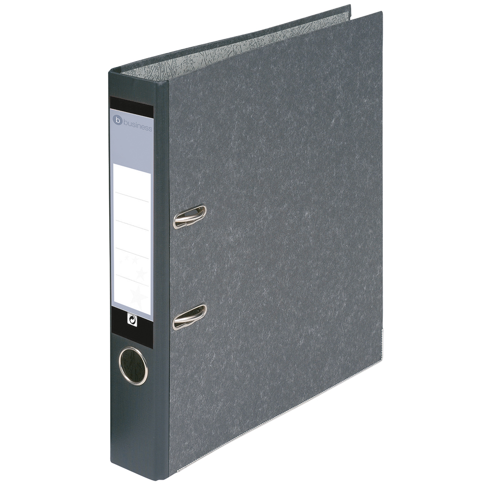 Business Office Mini Lever Arch File 50mm Spine Foolscap Cloudy Grey Pack 10