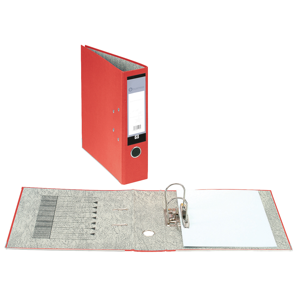 Business Office Lever Arch File 70mm A4 Red Pack 10