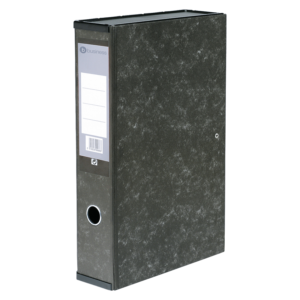 Business Marbelised Grey 75mm Foolscap Box File