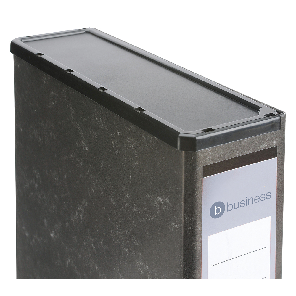 Business Box File with Lock Spring and Catch Closure Capacity 70mm Foolscap Marbled Cloud Black (Pack of 1)