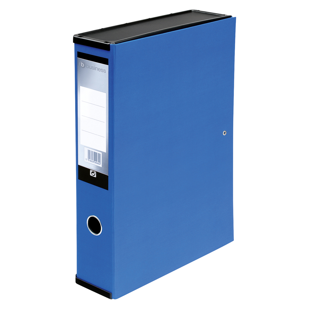 Business Office Box File 75mm Spine Lock Spring Foolscap Blue Pack 5