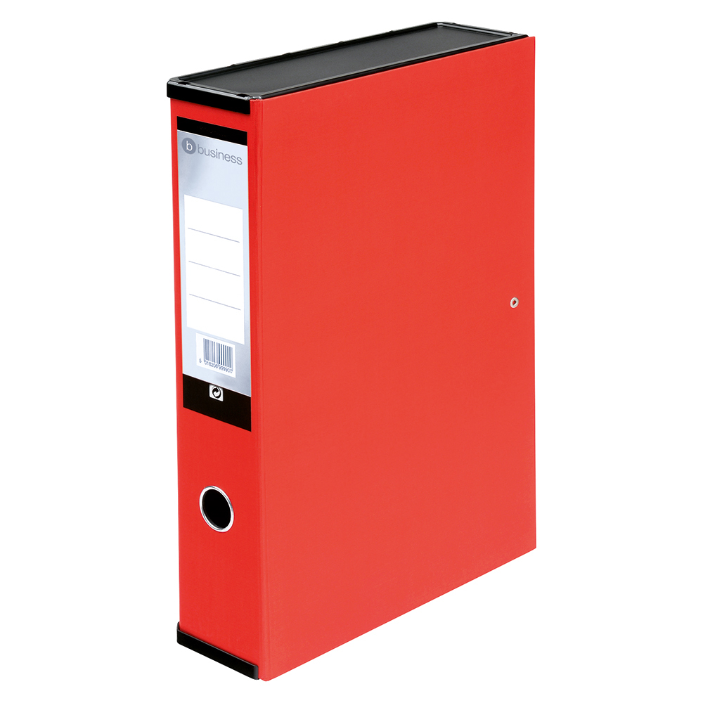 Business Office Box File 75mm Spine Lock Spring Foolscap Red Pack 5