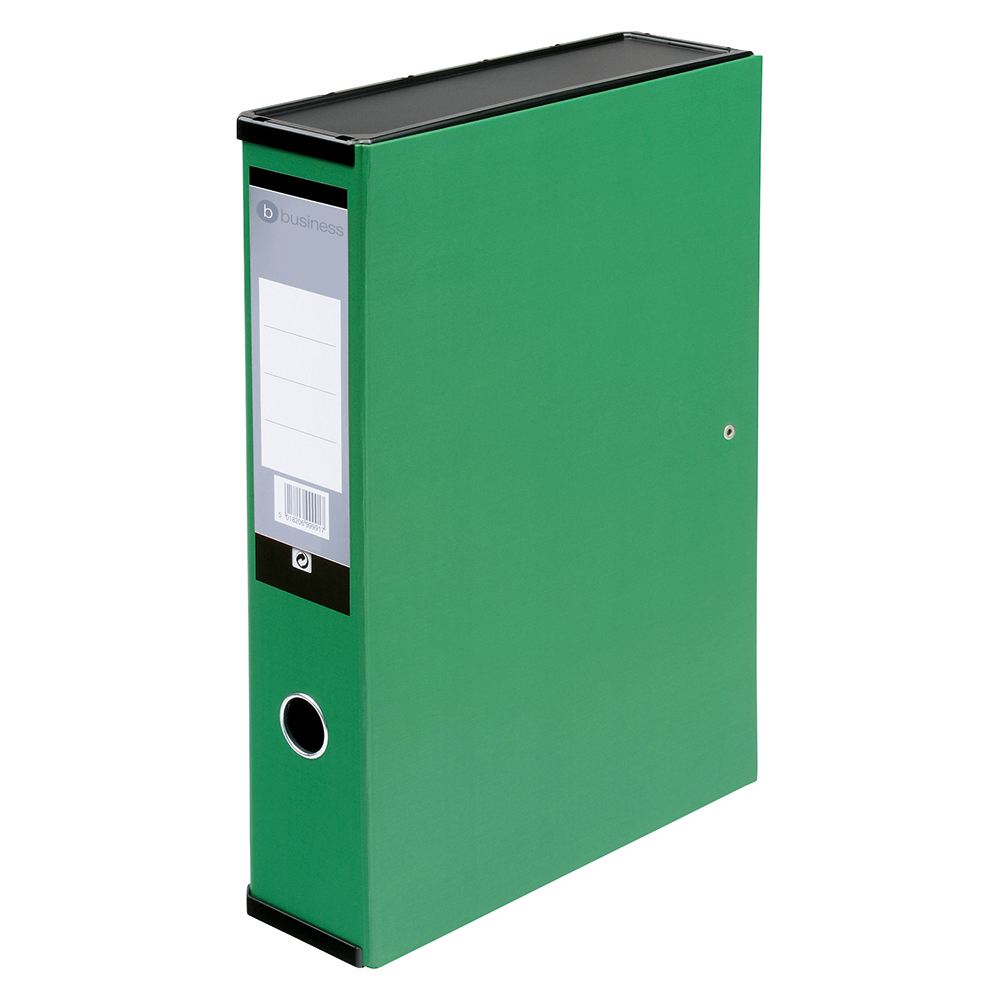 Business Office Box File 75mm Spine Lock Spring Foolscap Green Pack 5