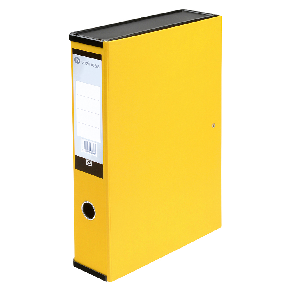 Business Office Box File 75mm Spine Lock Spring Foolscap Yellow Pack 5